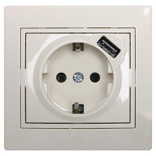 Розетки і вимикачі - Розетка с заземление + USB Lezard серия Mira 000000710 - Фото 1