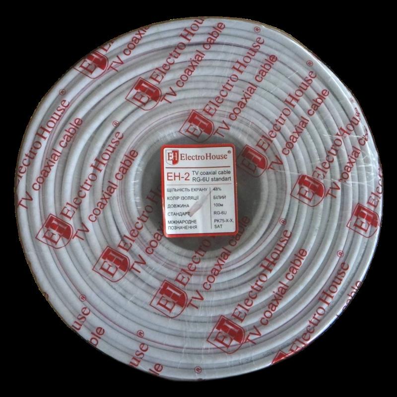 Кабель TV - Телевизионный (коаксиальный) кабель белый 000000812 - Фото 1