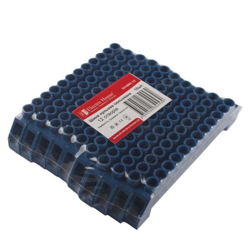Боксы и шины соединительные - Шина нулевая изолированная на 12 отверстий 100A IP20 000000950 - Фото 1