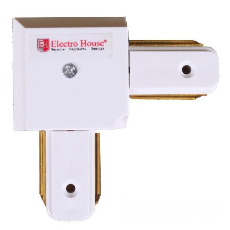 Лед трековое освещение - Коннектор для трекового LED светильника угловой белый 000000892 - Фото 1