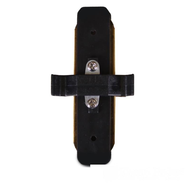 Лед трековое освещение - Коннектор для трекового LED светильника  прямой черный 000000893 - Фото 1