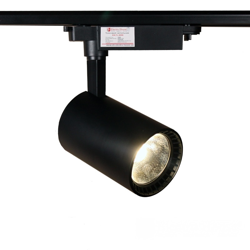 Лед трековое освещение - LED светильник трековый 30W черный 4100K 2700Lm 000000864 - Фото 1