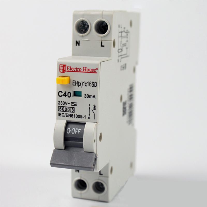 Дифференциальные автоматы - ДИФ Автомат 16А 1P+N(1 модуль) 30mA 6kA  230-240V  IP20 000000917 - Фото 1