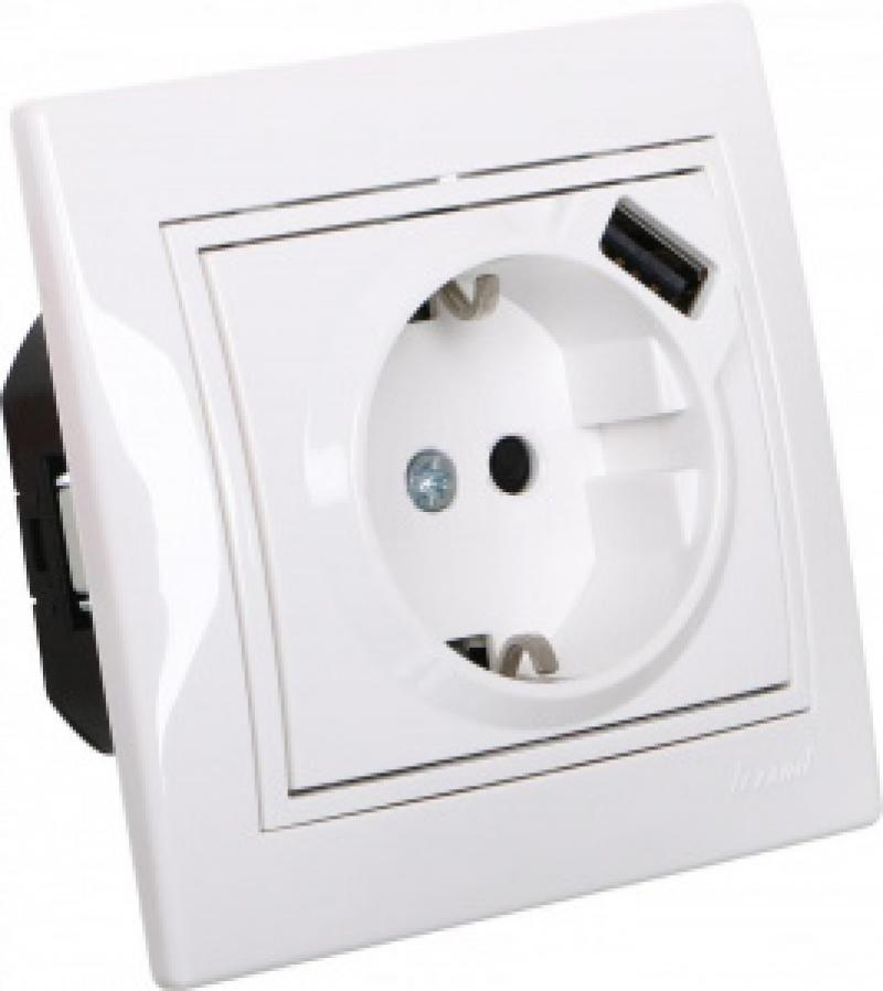 Розетки і вимикачі - Розетка с заземление + USB Lezard серия Mira 000000674 - Фото 1