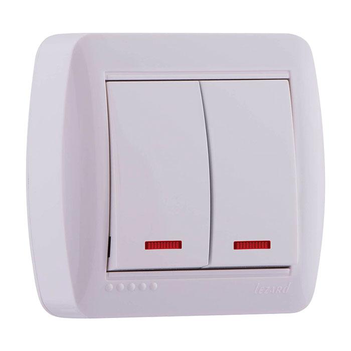 Розетки і вимикачі - Выключатель двойной с подсветкой Lezard серия Demet 000000752 - Фото 1