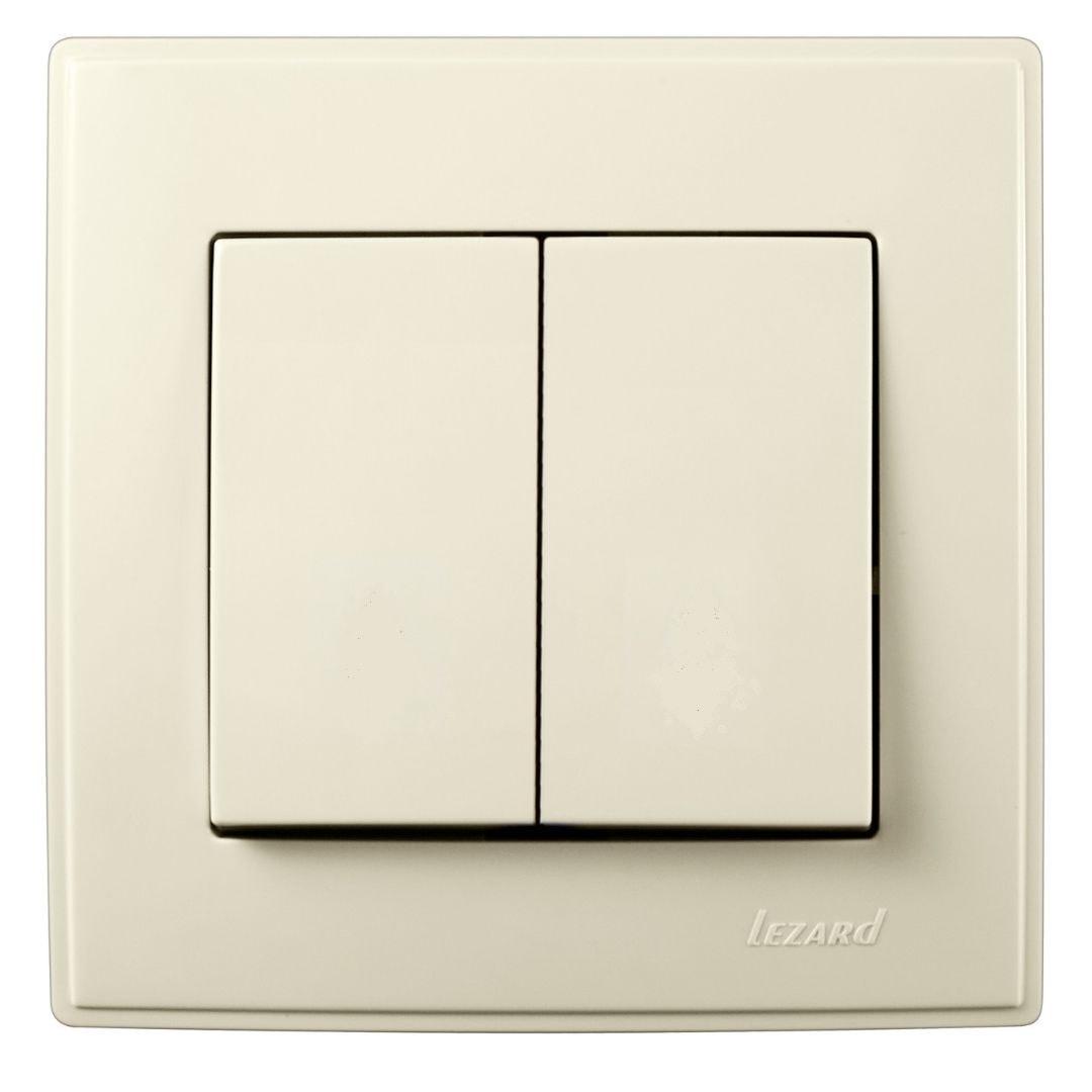 Розетки і вимикачі - Выключатель двойной Lezard серия Lesya 000001600 - Фото 1