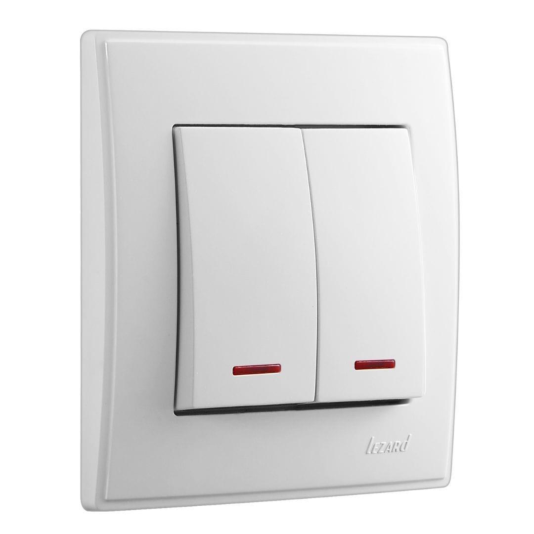 Розетки і вимикачі - Выключатель двойной с подсветкой Lezard серия Lesya 000001579 - Фото 1