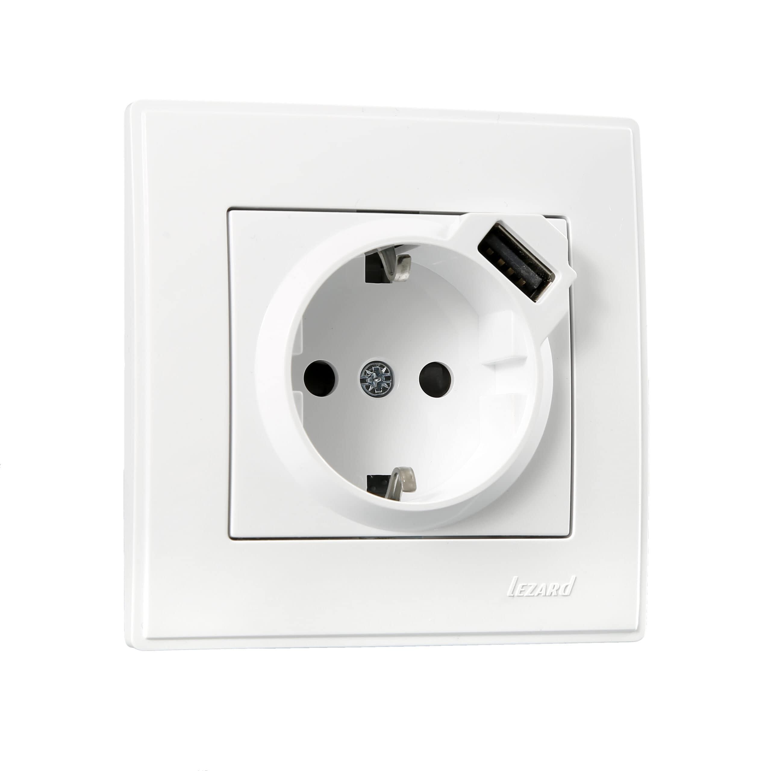 Розетки і вимикачі - Розетка с заземление + USB Lezard серия Lesya 000001598 - Фото 1