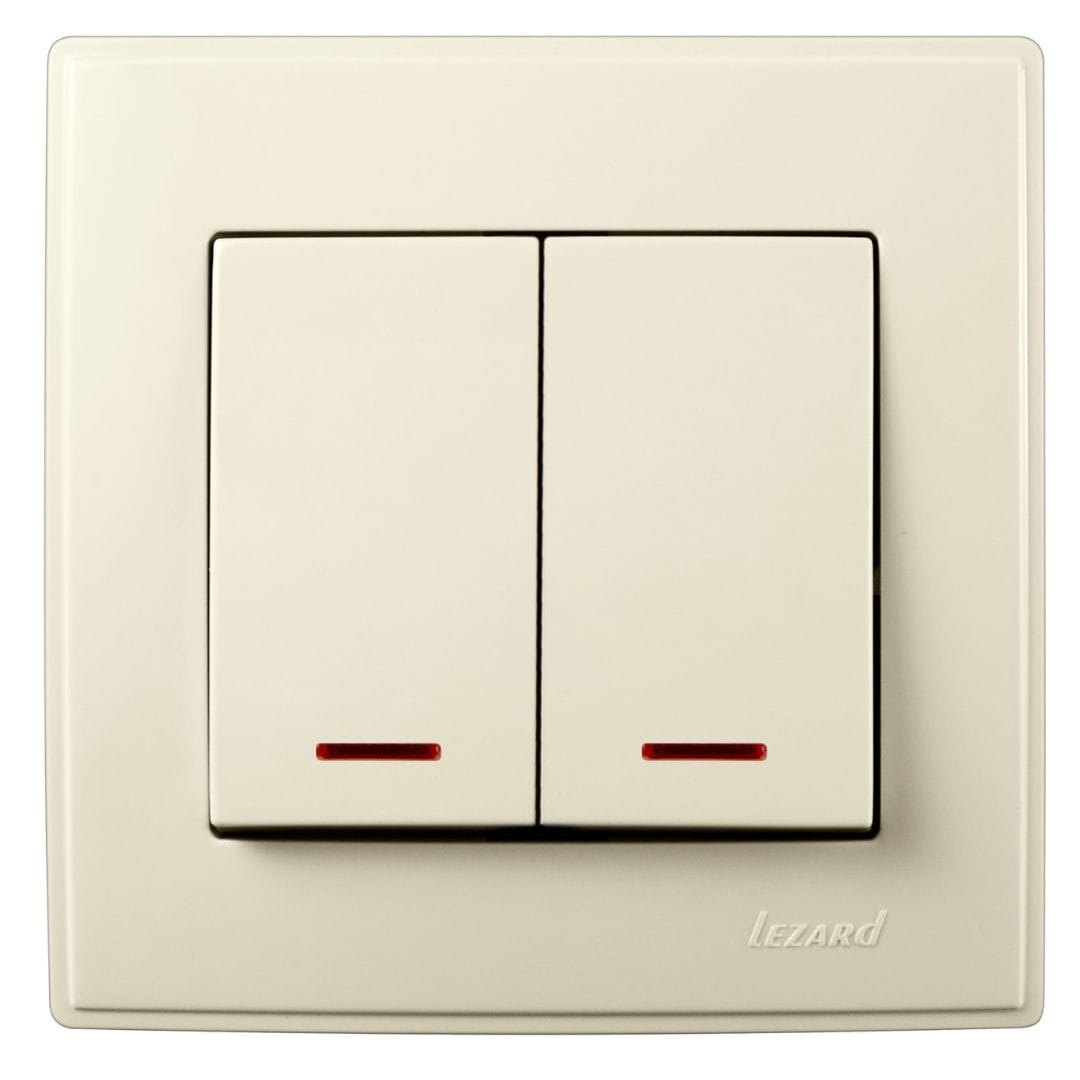 Розетки і вимикачі - Выключатель двойной с подсветкой Lezard серия Lesya 000001601 - Фото 1
