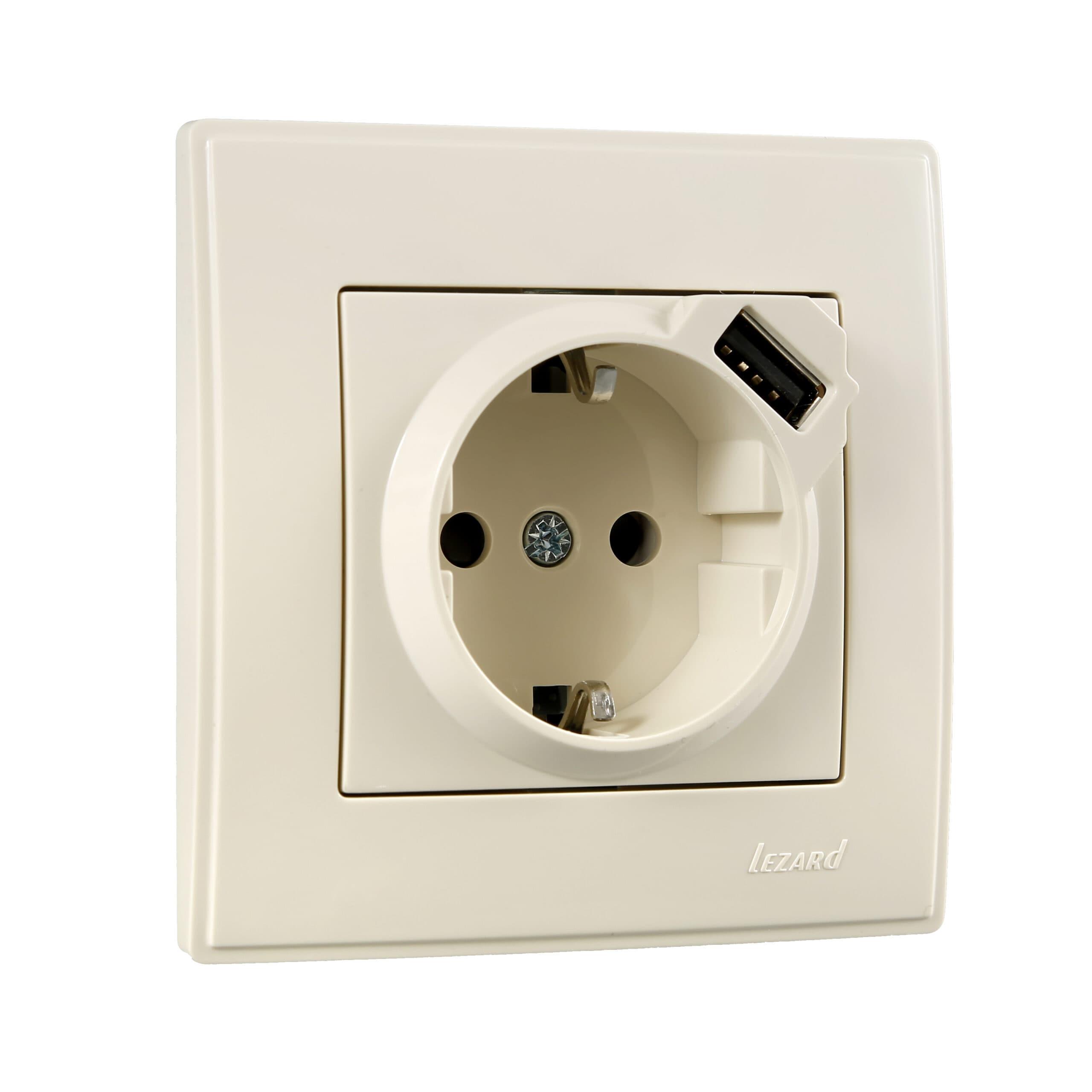 Розетки і вимикачі - Розетка с заземление + USB Lezard серия Lesya 000001618 - Фото 1