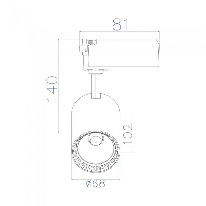 Лед трековое освещение - Светильник трековый COB LED 10W 4200K белый LYON-10 000001435 - Фото 2