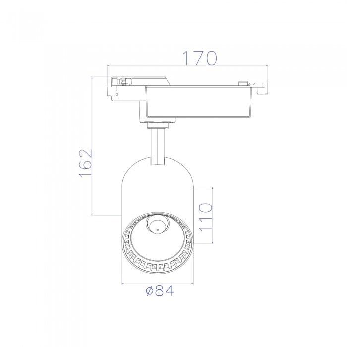 Лед трековое освещение - Светильник трековый COB LED 18W 4200K белый LYON-18 000001437 - Фото 2