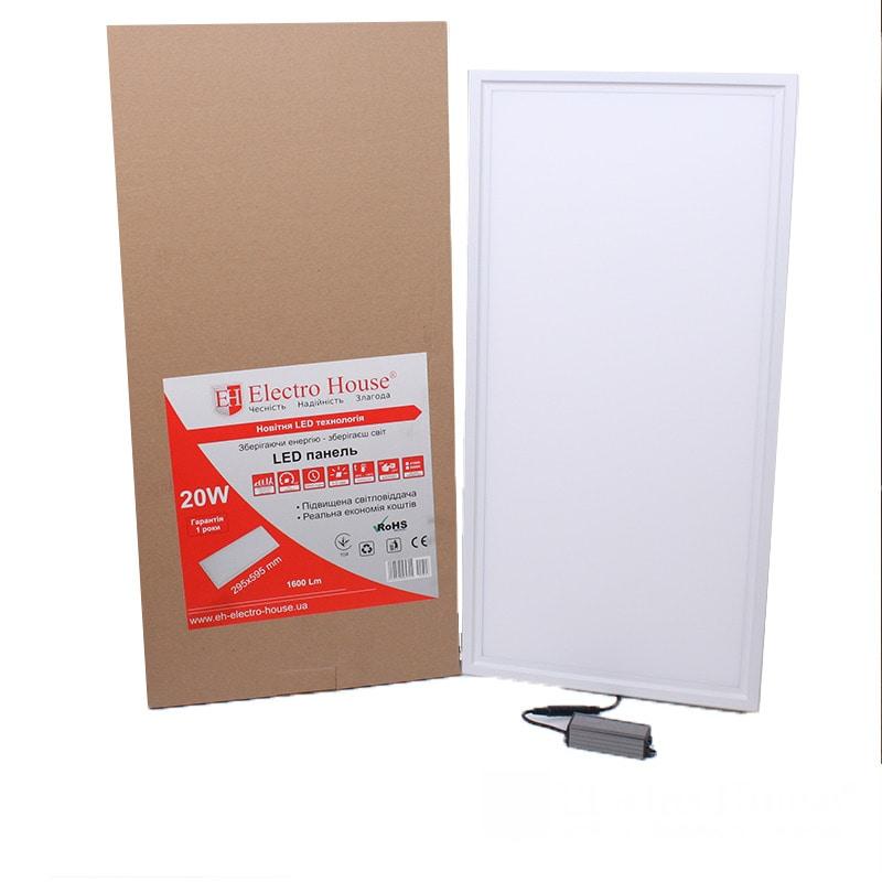 Светодиодное освещение - LED панель прямоугольная 20W 6500К 295х595мм  000001852 - Фото 1