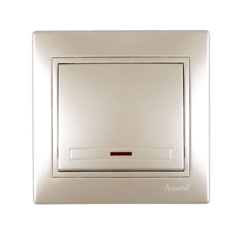 Розетки і вимикачі - Выключатель с подсветкой Lezard серия Mira 000002063 - Фото 1