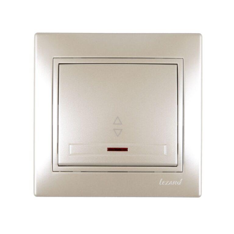 Розетки і вимикачі - Выключатель проходной с подсветкой Lezard серия Mira 000002062 - Фото 1