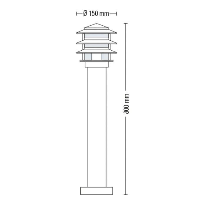 Уличные LED светильники - Светильник садово-парковый Кайян 800 мм 000002490 - Фото 2